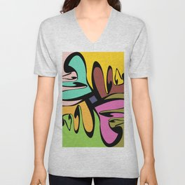 Four Faces Abstract Unisex V-Neck