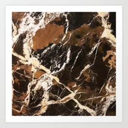 Sienna Brown and Black Marble With Creamy Veins Art Print
