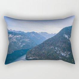 königssee alps bayern forrest drone aerial shot nature wanderlust boat mountains Rectangular Pillow