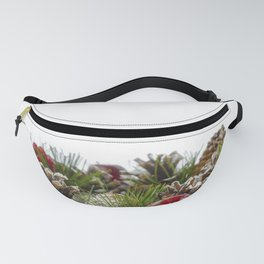 Christmas Decorative Wreath on White Background Fanny Pack