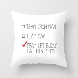 team let bucky eat his plums Throw Pillow