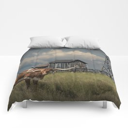 Longhorn Steer in a Prairie pasture by 1880 Town with Windmill and Old Gray Wooden Barn Comforters