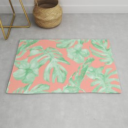 Tropical Palm Leaves Hibiscus Flowers Coral Green Rug