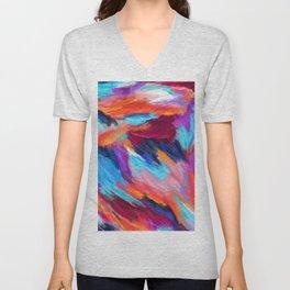 Bright Abstract Brushstrokes Unisex V-Neck