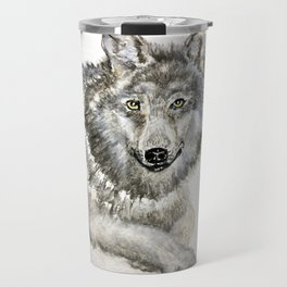 Majestic winter wolf; is she smiling or about to bite? cute animals Travel Mug