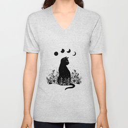 Night Garden Cat Unisex V-Neck