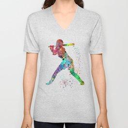Baseball Softball Player Sports Art Print Watercolor Print Girl's softball Unisex V-Neck