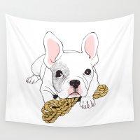 french bulldog Wall Tapestries featuring French Bulldog  by yosom