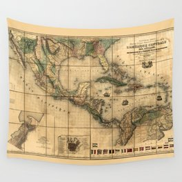Central America Map (1845) Wall Tapestry