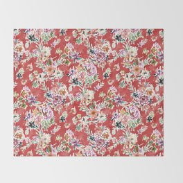 WILD LOVE Bold Red Floral Throw Blanket