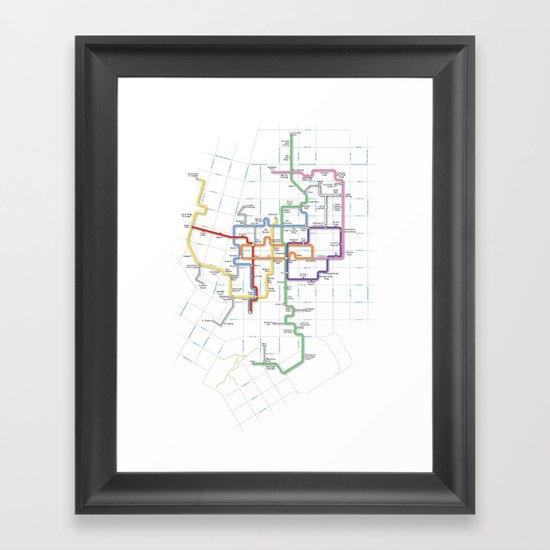 Minneapolis Skyway Map Framed Art Print