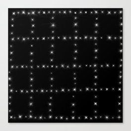 Black and White - Stars in Squares Canvas Print