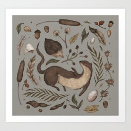 Weasel and Hedgehog Art Print
