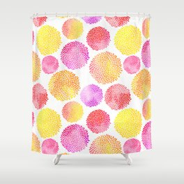 Yellow Red Purple Fireworks Shower Curtain