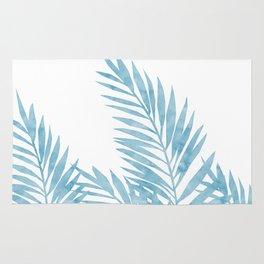 Palm Leaves Light Blue Rug