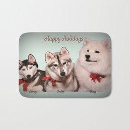 Bing, Indie & Lovey; Holiday Huskies & Samoyed Bath Mat
