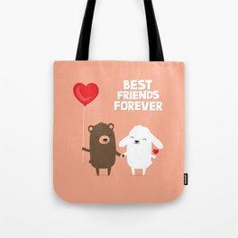 Cute cartoon bear and bunny rabbit holding hands Tote Bag