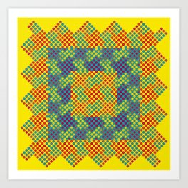 Dot Swatch Equivocated on Yellow Art Print