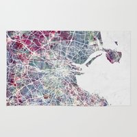 dublin Area & Throw Rugs featuring Dublin by MapMapMaps.Watercolors