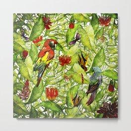 My tropical Summer Flowers and Birds Garden - Jungle Pattern Metal Print