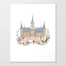 Provo City Center LDS watercolor Temple with flower wreath  Canvas Print