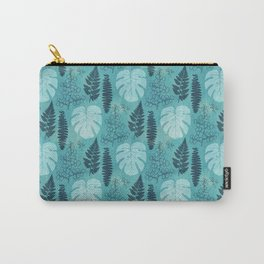 Tropical leaves and ferns in turquoise Carry-All Pouch