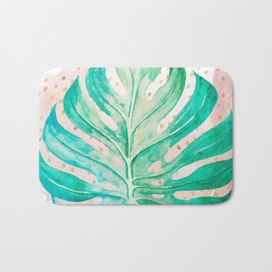 Leaf plant with golden points Bath Mat