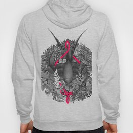 Bird and blossoms | black and grey Hoody