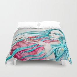 Watercolor mermaid fantasy art Duvet Cover