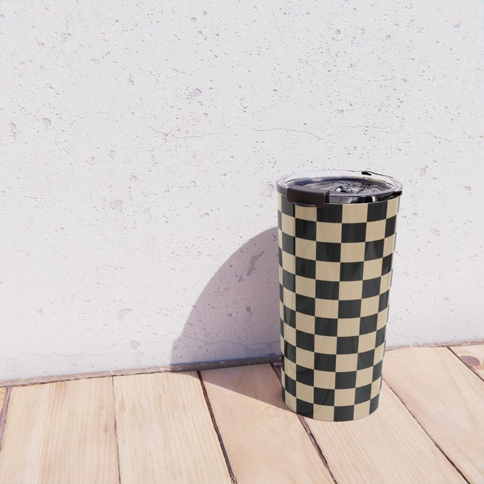Black and Tan Brown Checkerboard Travel Mug