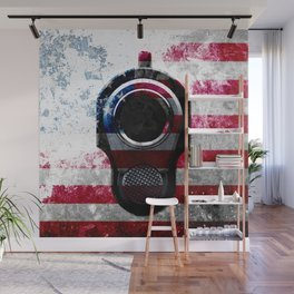M1911 Colt 45 and American Flag on Distressed Metal Wall Mural
