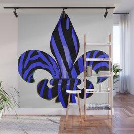 Fleur De Lis Blue Zebra Print Wall Mural