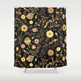 Golden Florals Shower Curtain