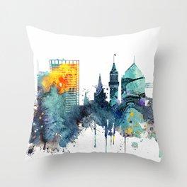 Watercolor Oakland skyline cityscape Throw Pillow