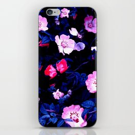 Bold Blue And Pastel Pink Blush Floral iPhone Skin