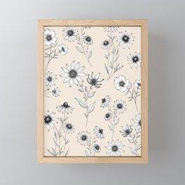 Wildflowers Pattern | Cream Framed Mini Art Print