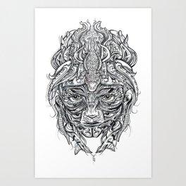 Crocodile Mask Art Print
