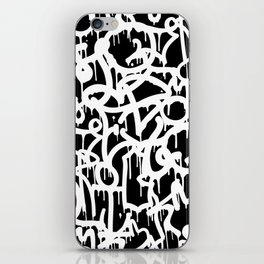 Black and White Graffiti Pattern iPhone Skin