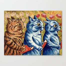 Three cats singing vintage painting Canvas Print