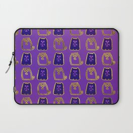 Cute whimsical Gold and purple Cat Pattern Laptop Sleeve