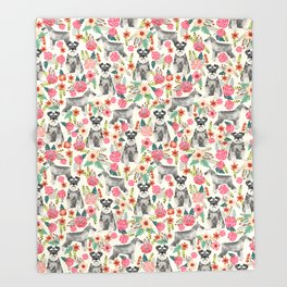 Schnauzer florals dog must have gifts for schnauzers pure breed Throw Blanket