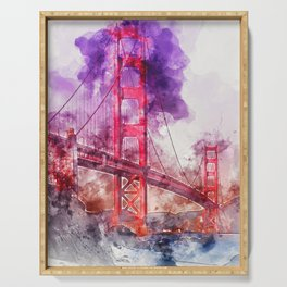 Golden Gate Bridge - Watercolor Serving Tray