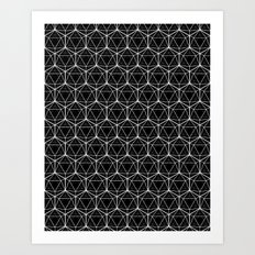 Icosahedron Pattern Black Art Print