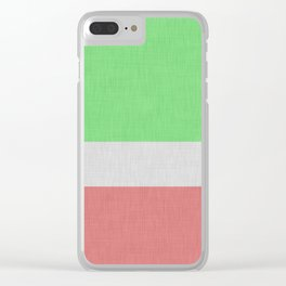 Linen texture green and orange color block Clear iPhone Case