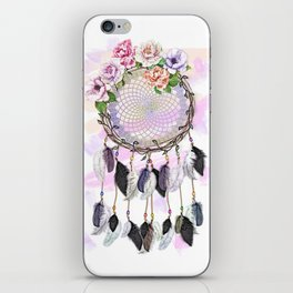 Dream Catcher, Catching Dreams, To Catch A Dream, Feathers and Flowers Dream Catcher iPhone Skin