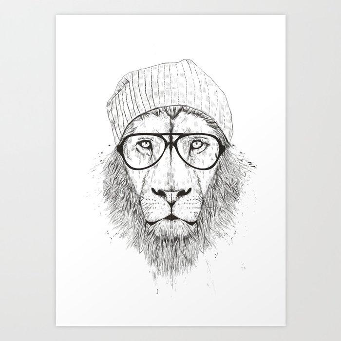 Cool lion (bw) Kunstdrucke