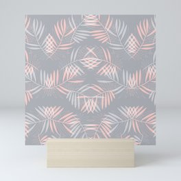 Palm leaves lace pattern on grey Mini Art Print