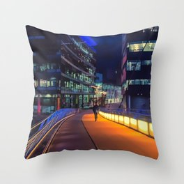 Night time in Media City Throw Pillow