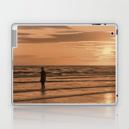 A Gormley Iron man at sunset (Digital Art) Laptop & iPad Skin