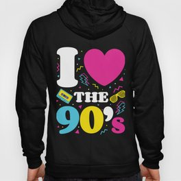 Love the 90's; Retro T-Shirt 1990s 1990 90s Party Neon Hoody